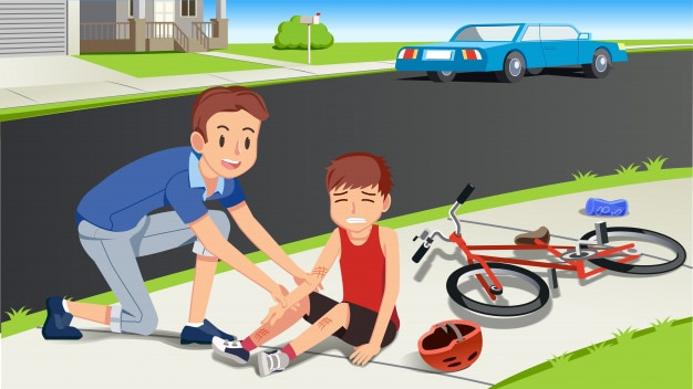 Helping Children After A Bicycle Accident Vector Premium Download