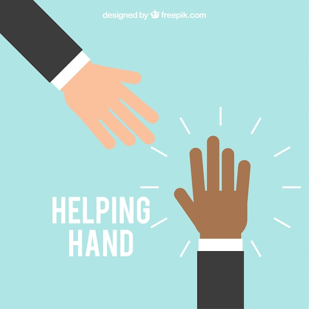 Helping hand background in flat style Free Vector