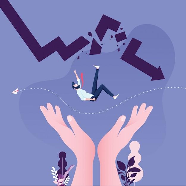 Helping hand rescuing businessman falling from broken arrow Premium Vector