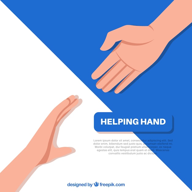 Helping hand to support background in flat style Free Vector