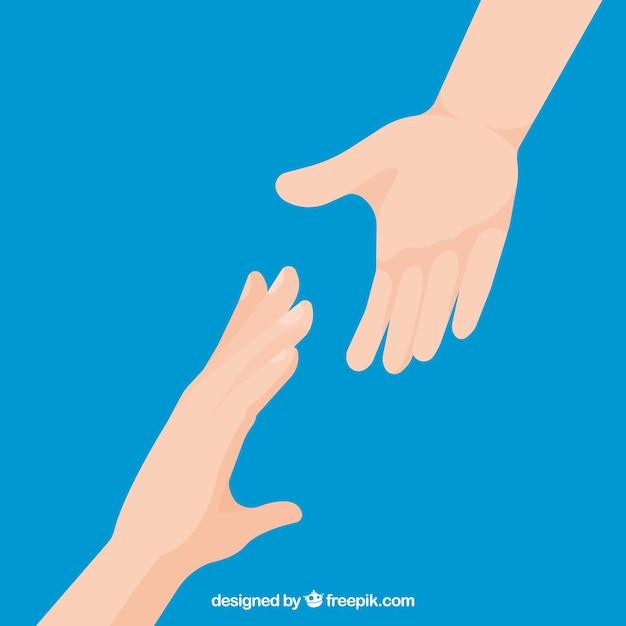 Помощь рукой для поддержки фона в плоском стиле Бесплатные векторы