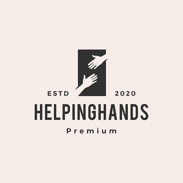 Helping hand vintage logo Premium Vector