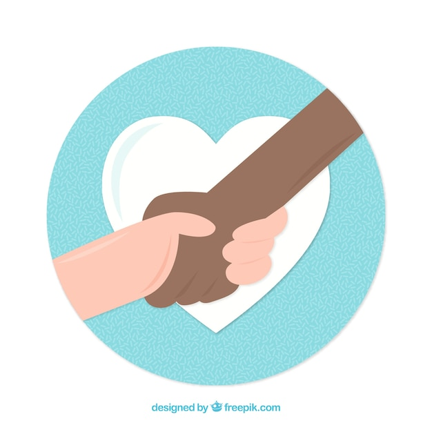 Helping hand with heart background in flat style Free Vector