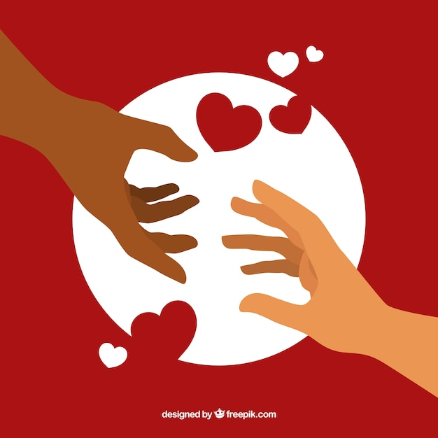 Helping hand with hearts background in flat style Premium Vector