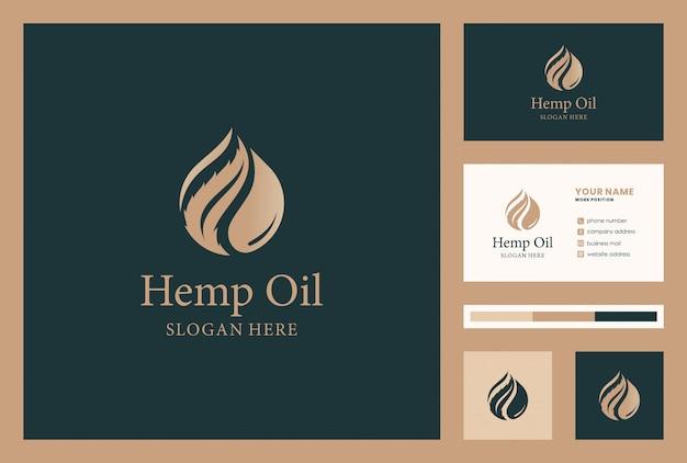 麻、大麻、cbd、名刺付きオイルロゴデザイン Premiumベクター