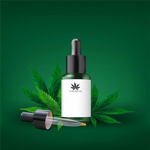 Hemp oil and cannabis leaf isolated. healthy cannabis oil, vector illustration. Premium Vector