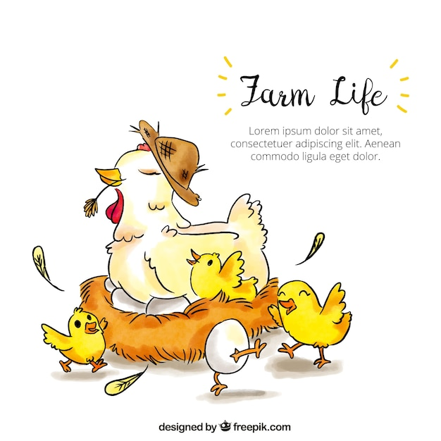 Hen background with hand drawn chicks