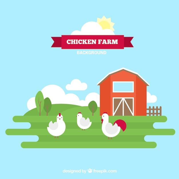 Hen house with chickens in flat design Free Vector
