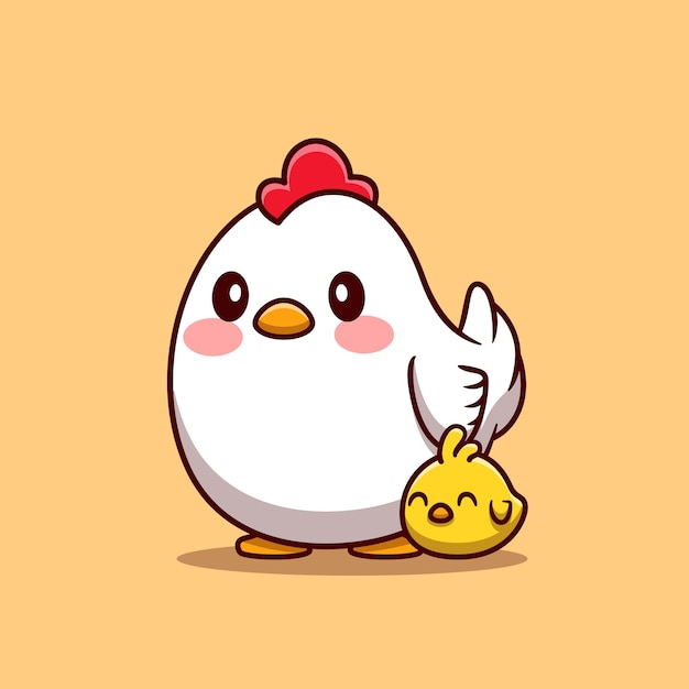 Free Vector Hen With Chick Cartoon Illustration