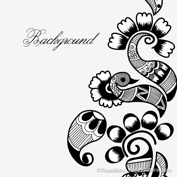 Henna Tattoo Vector: Henna Art Background Vector Set Vector