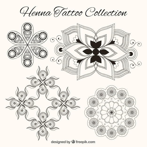 Henna Tattoo Vector: Henna Tattoo Collection In Black And White Vector