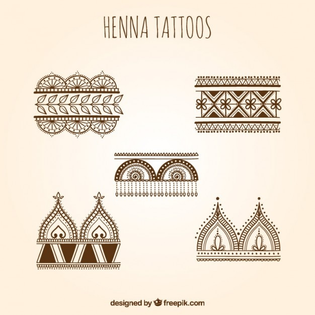Mehndi Hand Vector Free Download : Henna tattoos set vector free download
