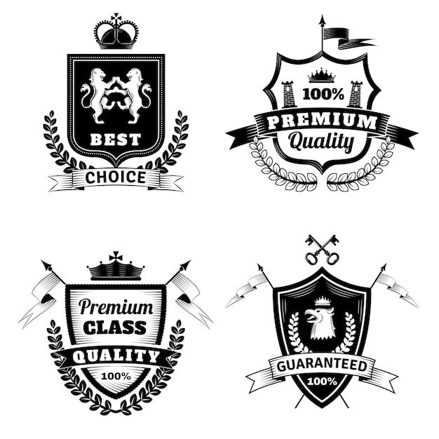 Heraldic best choice emblems set Premium Vector