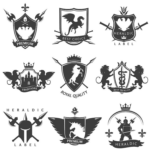 Emblemi araldici bianchi neri Vettore gratuito