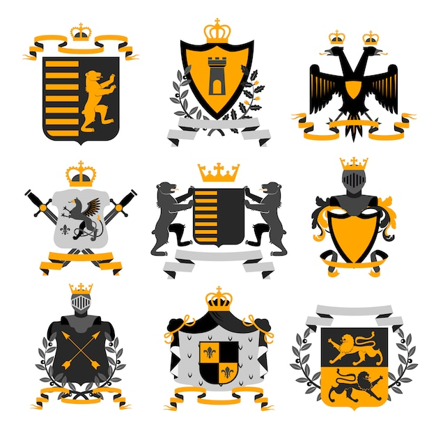 Heraldic coat of arms family crest and shields emblems Free Vector
