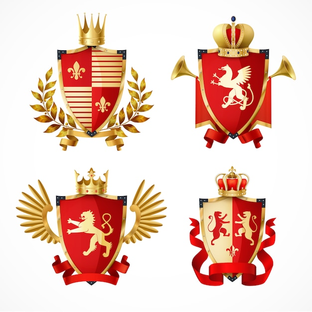 Heraldic coat of arms on shields realistic set Free Vector
