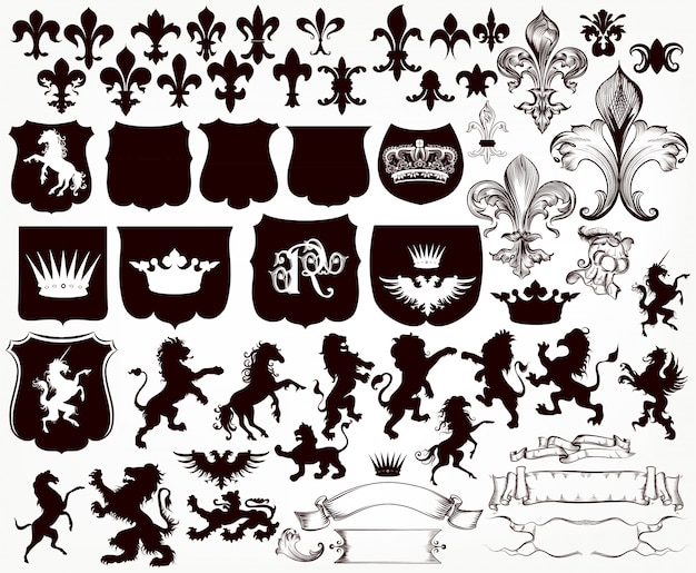 Heraldic collection of shields, silhouettes of lions, griffins and fleur de lis Free Vector