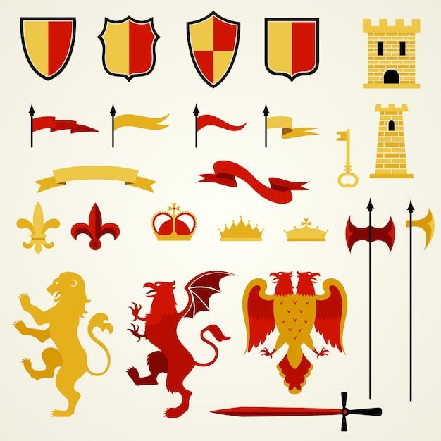 Heraldic elements set Free Vector