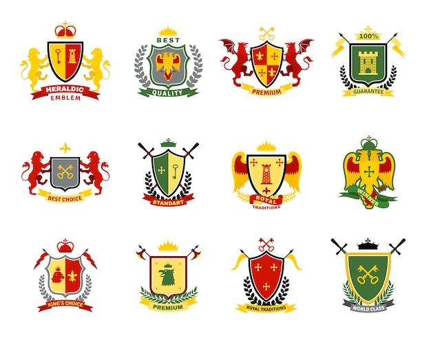 Heraldic emblems set Free Vector