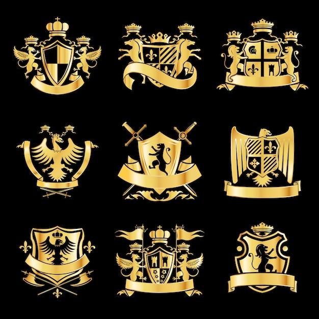 Heraldic golden emblems Premium Vector