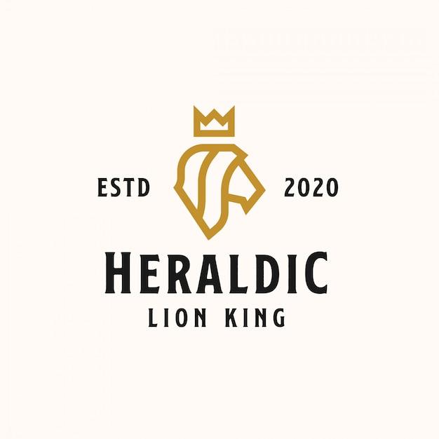 王冠の黄金色のロゴのテンプレートを持つ紋章頭のライオン。ベクトルのロゴ Premiumベクター