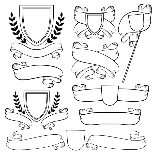 Heraldic ribbons and crest. outline coat of arms Premium Vector