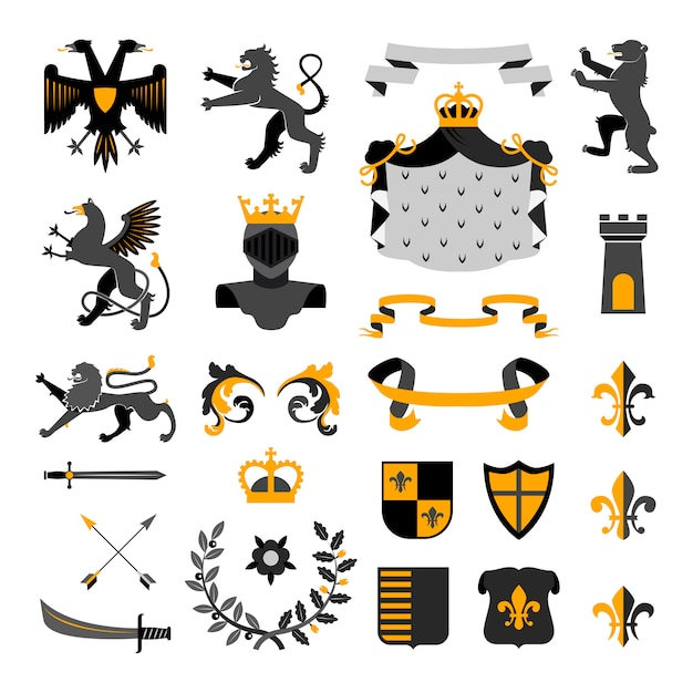 Heraldic royal symbols emblems design Free Vector