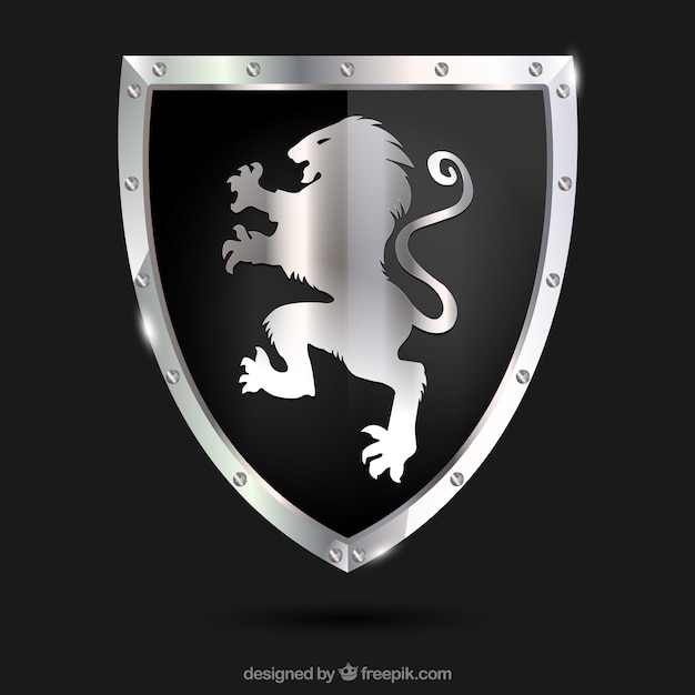 heraldic shield with silver lion vector free download