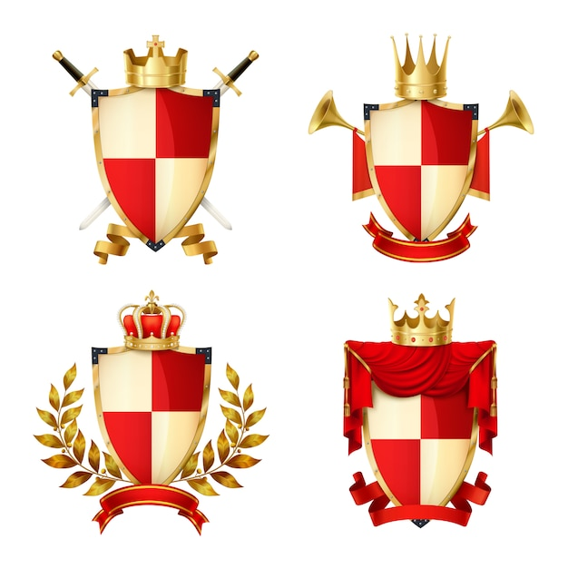 Heraldic shields realistic set with ribbons and crowns isolated Free Vector