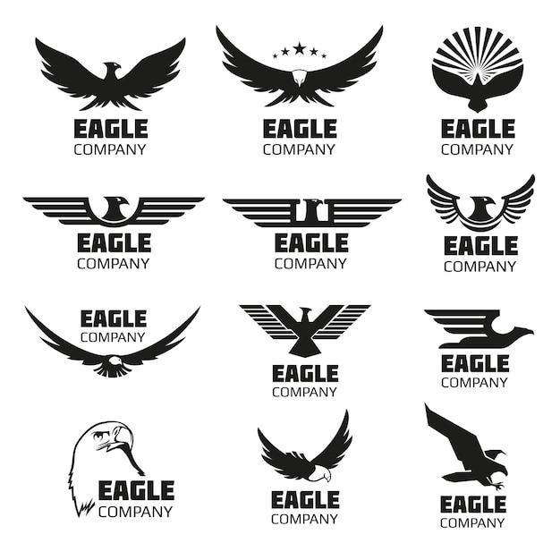 Heraldic Symbols With Eagle Silhouettes Vector Premium