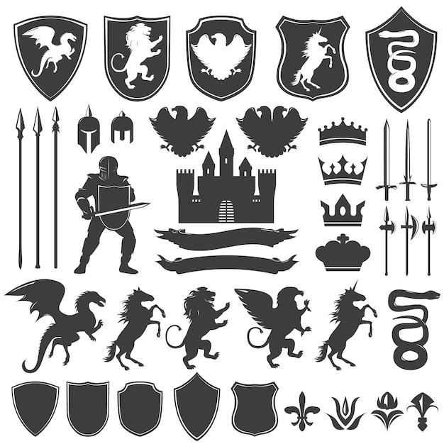Набор геральдических декоративных графических иконок Бесплатные векторы