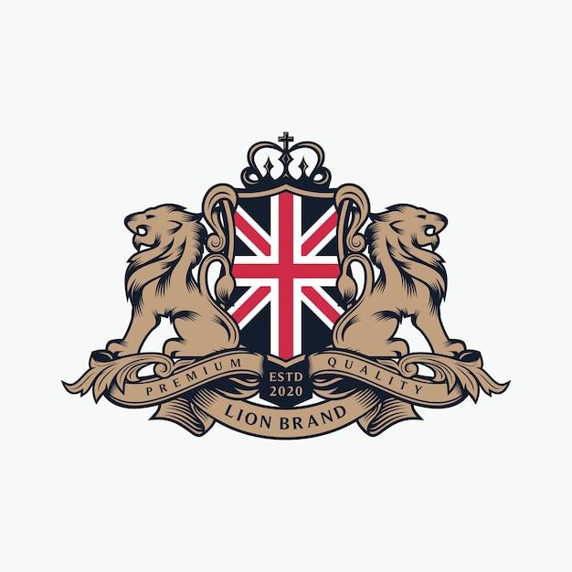 紋章ライオンブランドのロゴデザイン Premiumベクター