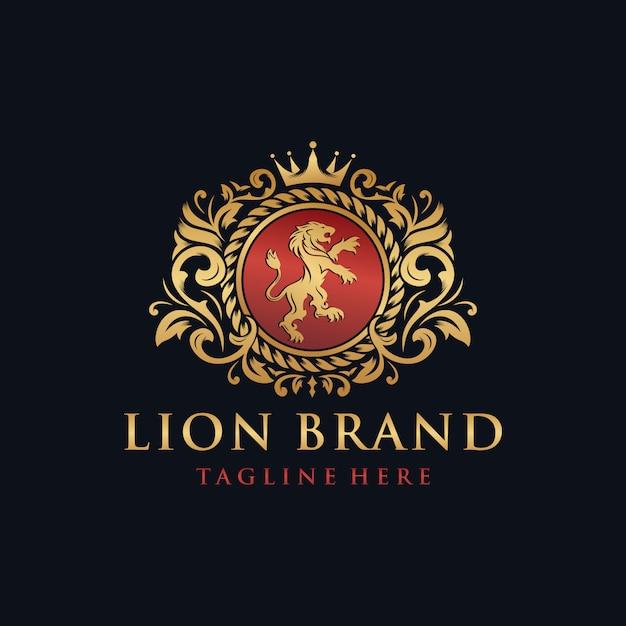 紋章のライオンのブランドロゴデザイン Premiumベクター
