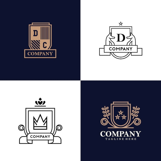 Heraldry logo collection Premium Vector
