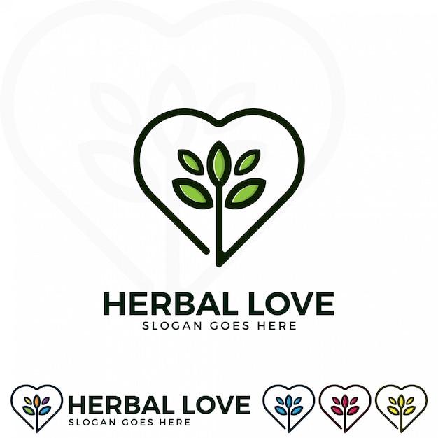 Herbal love logo illustration Premium Vector