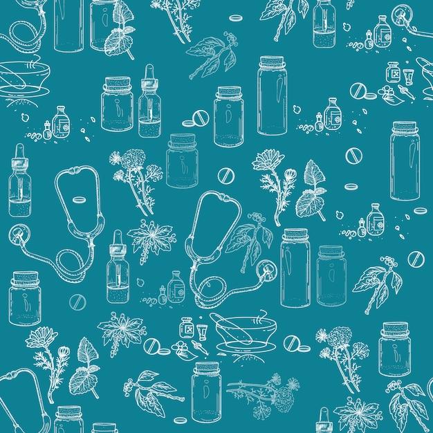 Herbal medicine seamless pattern Premium Vector