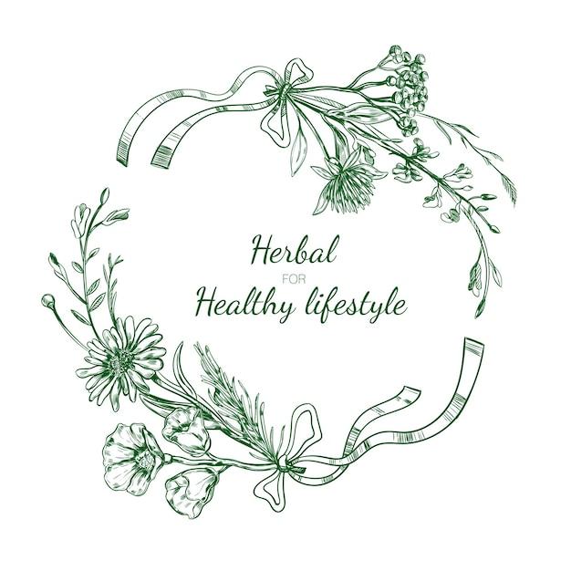 Herbal sketch round frame Free Vector