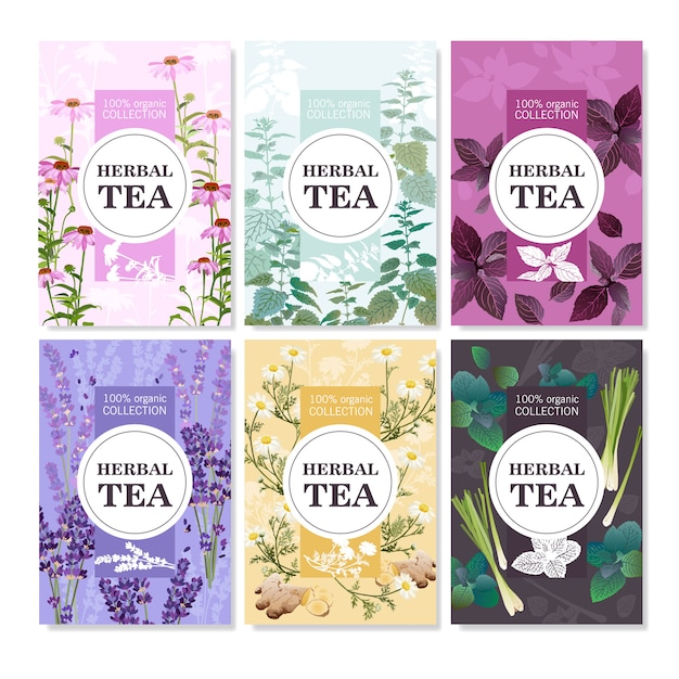 Herbal tea colored banners set Free Vector