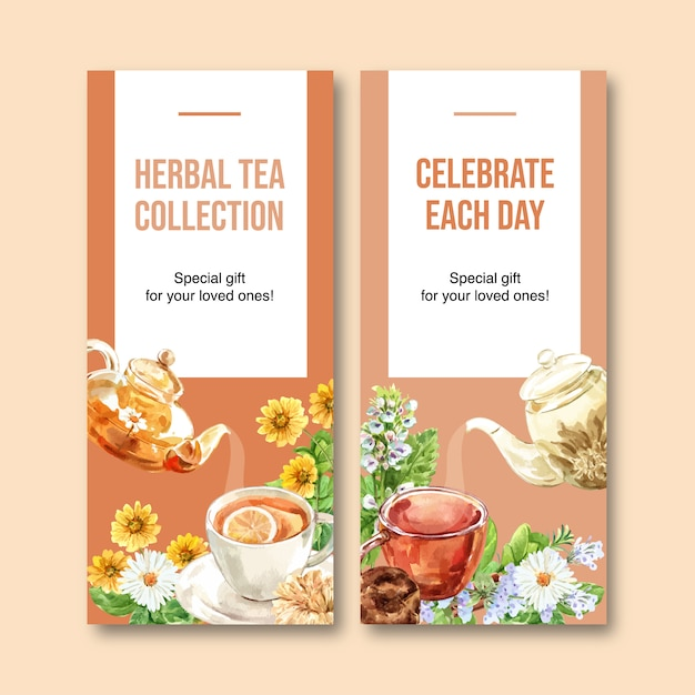 Herbal tea flyer with chamomile, peppermint watercolor illustration. Free Vector