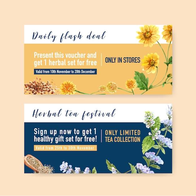 Herbal tea voucher with chrysanthemum, marigold watercolor illustration. Free Vector