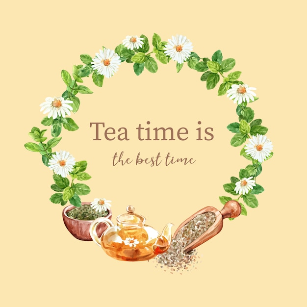 Herbal tea wreath with aster, mint, chamomile, tea pot watercolor illustration. Free Vector