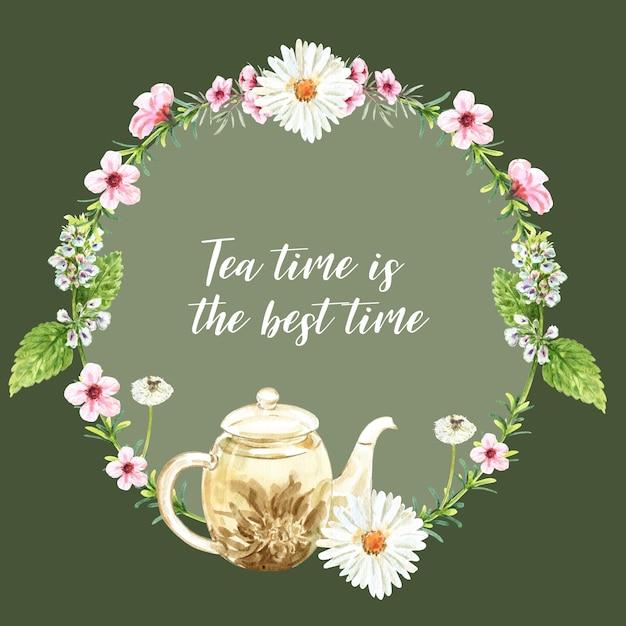 Травяной чай венок с астры, чайник, акварель листовой иллюстрации. Бесплатные векторы