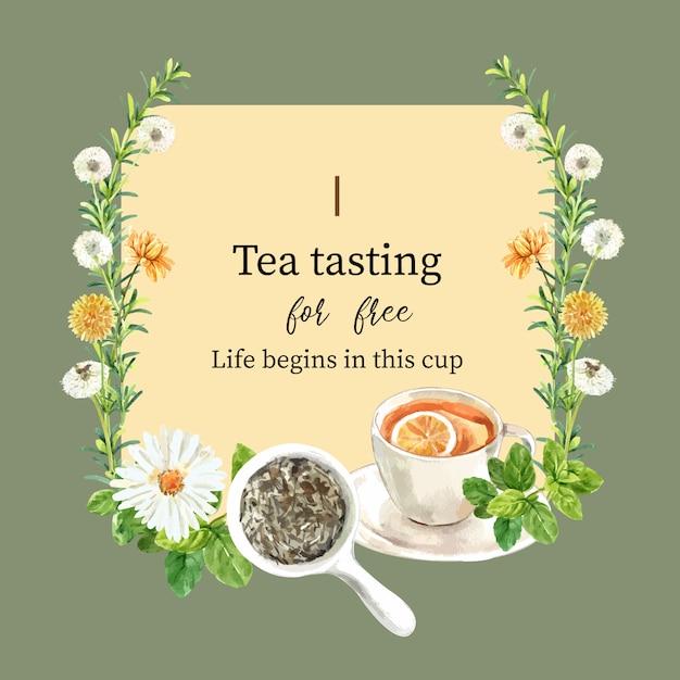 Травяной чай венок с мятой, астра, лимон, хризантема акварель иллюстрации. Бесплатные векторы