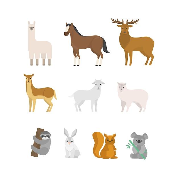 草食動物セット。森から哺乳類のコレクション。鹿とリス、馬と羊。図 Premiumベクター
