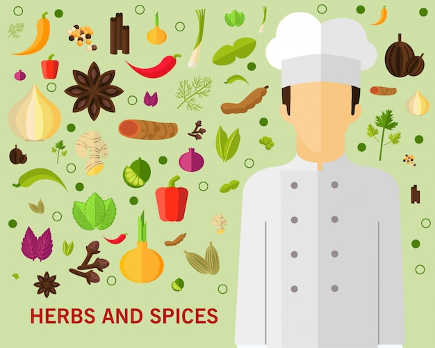 Herbs and spices concept background. Premium Vector