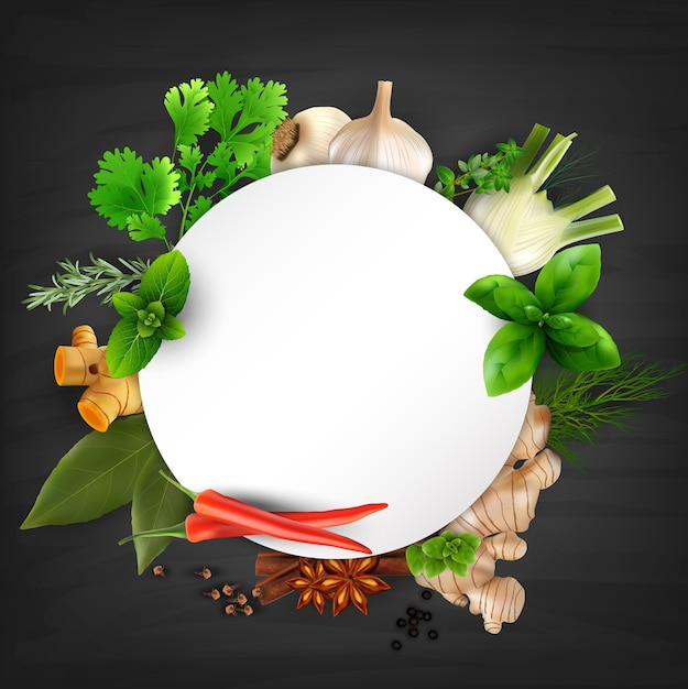 Herbs and spices round frame Premium Vector