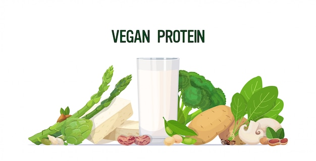 Herbs vegetables plant based tofu milk organic dairy free natural raw food composition vegan protein concept horizontal Premium Vector