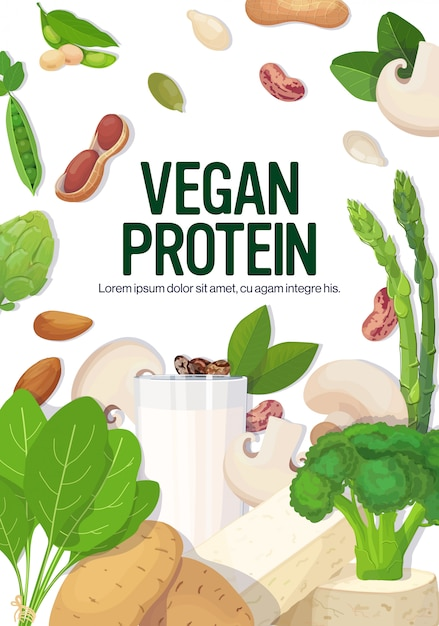 Herbs vegetables plant based tofu milk organic dairy free natural raw food composition vegan protein concept vertical copy space Premium Vector