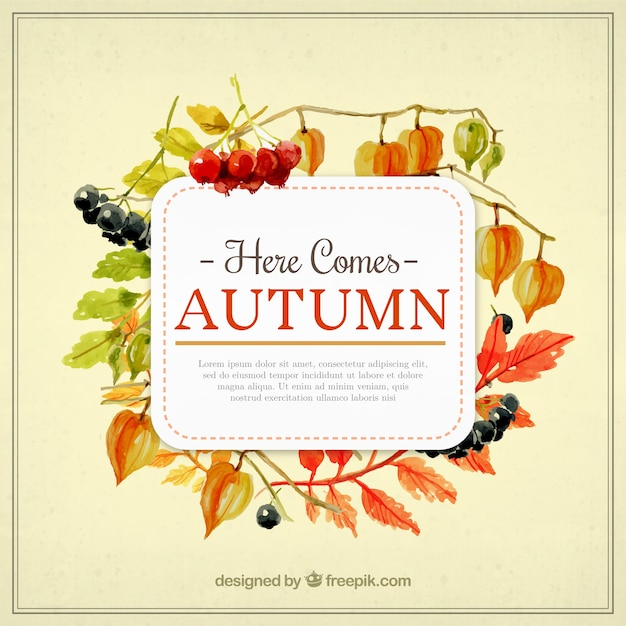here comes autumn template vector free download