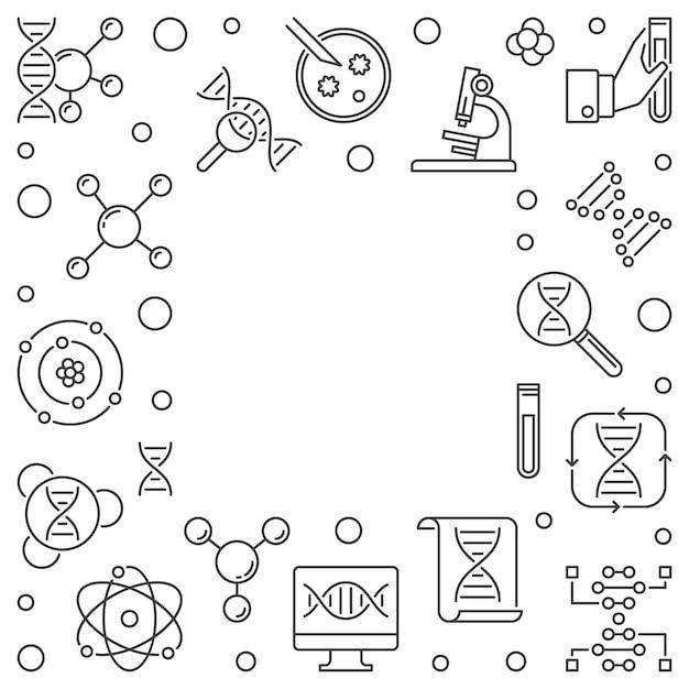 遺伝概念の正方形のアウトラインフレーム。ベクトル図 Premiumベクター